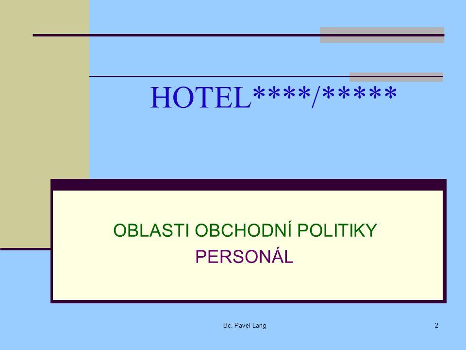 HOTEL****/***** OBLASTI OBCHODNÍ POLITIKY PERSONÁL Bc. Pavel Lang2