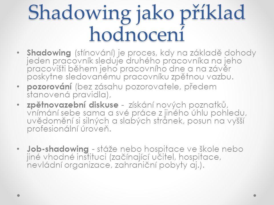 Shadowing jako příklad hodnocení Shadowing (stínování) je proces, kdy na základě dohody jeden pracovník sleduje druhého pracovníka na jeho pracovišti