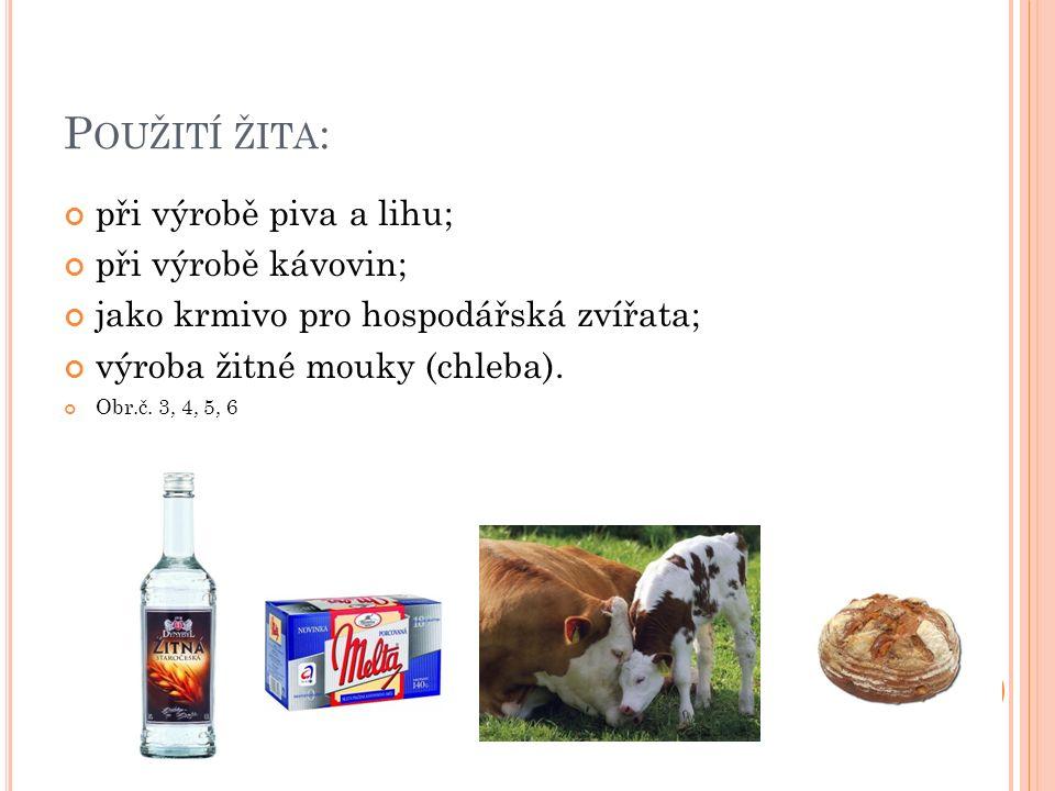 P OUŽITÍ ŽITA : při výrobě piva a lihu; při výrobě kávovin; jako krmivo pro hospodářská zvířata; výroba žitné mouky (chleba). Obr.č. 3, 4, 5, 6