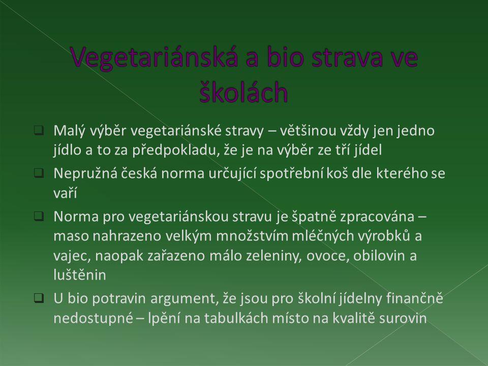  Malý výběr vegetariánské stravy – většinou vždy jen jedno jídlo a to za předpokladu, že je na výběr ze tří jídel  Nepružná česká norma určující spotřební koš dle kterého se vaří  Norma pro vegetariánskou stravu je špatně zpracována – maso nahrazeno velkým množstvím mléčných výrobků a vajec, naopak zařazeno málo zeleniny, ovoce, obilovin a luštěnin  U bio potravin argument, že jsou pro školní jídelny finančně nedostupné – lpění na tabulkách místo na kvalitě surovin