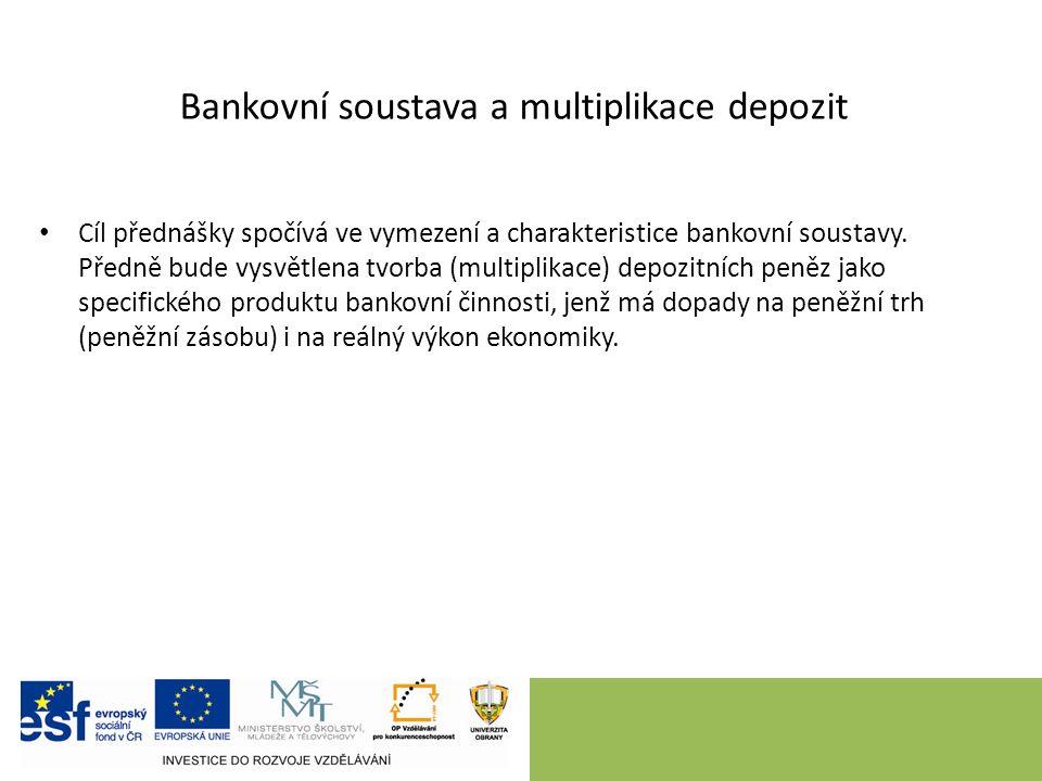 Obsah úvod – vymezení cíle vymezení bankovní soustavy tvorba depozitních peněz – multiplikace depozit závěr – shrnutí, úkoly k samostudiu