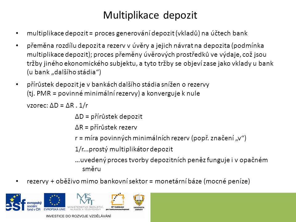 """Multiplikace depozit multiplikace depozit = proces generování depozit (vkladů) na účtech bank přeměna rozdílu depozit a rezerv v úvěry a jejich návrat na depozita (podmínka multiplikace depozit); proces přeměny úvěrových prostředků ve výdaje, což jsou tržby jiného ekonomického subjektu, a tyto tržby se objeví zase jako vklady u bank (u bank """"dalšího stádia ) přírůstek depozit je v bankách dalšího stádia snížen o rezervy (tj."""