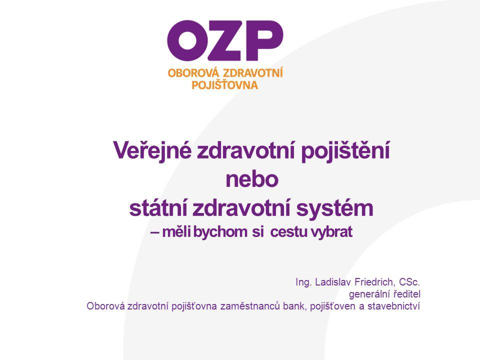 """Zdravotnictví Zdravotní péče je v ČR dostupná a kvalitní, ale není dlouhodobě současným způsobem financovatelná Zdravotnictví je specifické –vysokým očekáváním pokud jde o kvalitu, dostupnost a """"bezplatnost –dosud nízkou schopností občanů objektivně vyhodnotit skutečný přínos, potřebnost a efektivitu poskytovaných služeb –nadprůměrnou politizací a manipulacemi s veřejností ©Oborová zdravotní pojišťovna zaměstnanců bank, pojišťoven a stavebnictví 2"""