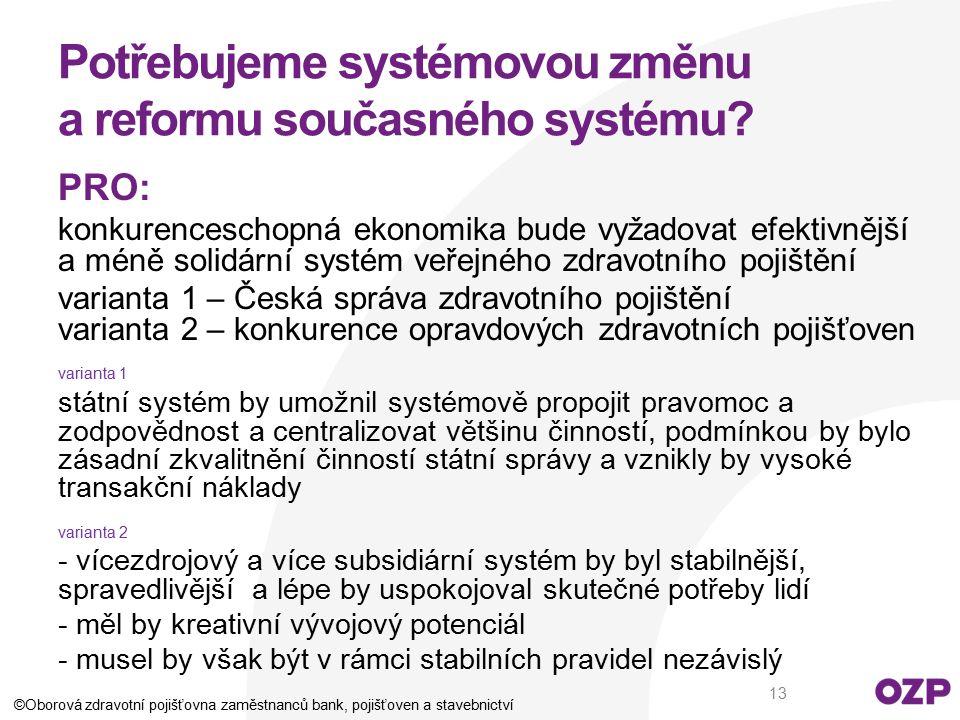 Potřebujeme systémovou změnu a reformu současného systému? PRO: konkurenceschopná ekonomika bude vyžadovat efektivnější a méně solidární systém veřejn