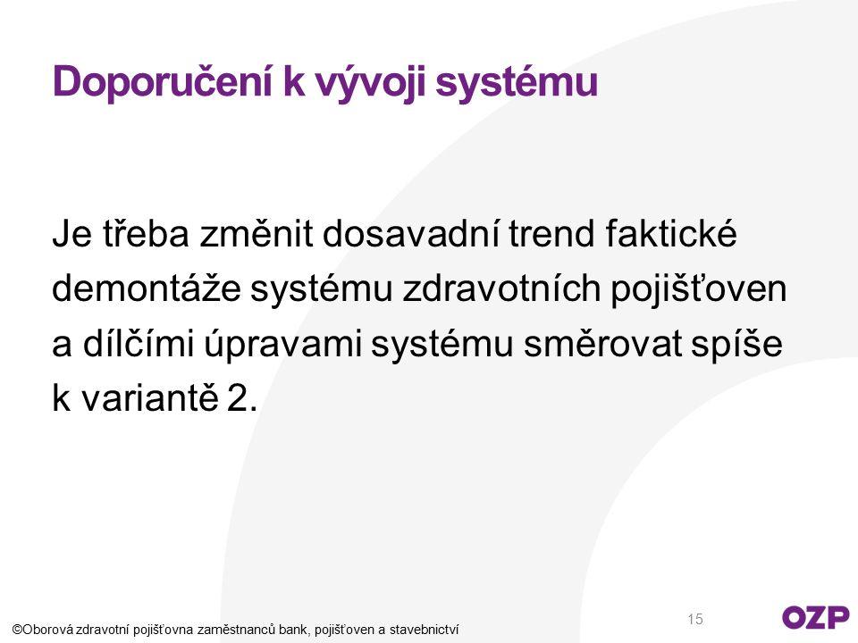 Doporučení k vývoji systému Je třeba změnit dosavadní trend faktické demontáže systému zdravotních pojišťoven a dílčími úpravami systému směrovat spíš