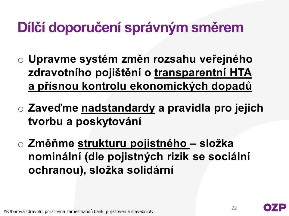 Dílčí doporučení správným směrem o Upravme systém změn rozsahu veřejného zdravotního pojištění o transparentní HTA a přísnou kontrolu ekonomických dop