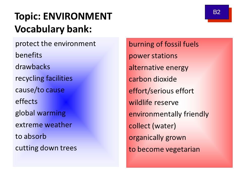 Topic: ENVIRONMENT Vocabulary bank: protect the environment benefits drawbacks recycling facilities cause/to cause effects global warming extreme weat
