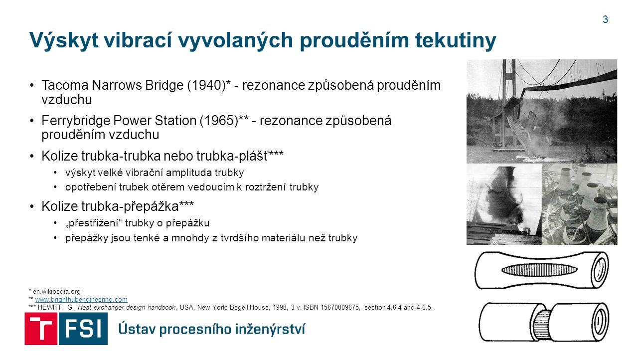 """Výskyt vibrací vyvolaných prouděním tekutiny Tacoma Narrows Bridge (1940)* - rezonance způsobená prouděním vzduchu Ferrybridge Power Station (1965)** - rezonance způsobená prouděním vzduchu Kolize trubka-trubka nebo trubka-plášť*** výskyt velké vibrační amplituda trubky opotřebení trubek otěrem vedoucím k roztržení trubky Kolize trubka-přepážka*** """"přestřižení trubky o přepážku přepážky jsou tenké a mnohdy z tvrdšího materiálu než trubky 3 * en.wikipedia.org ** www.brighthubengineering.comwww.brighthubengineering.com *** HEWITT, G., Heat exchanger design handbook, USA, New York: Begell House, 1998, 3 v."""