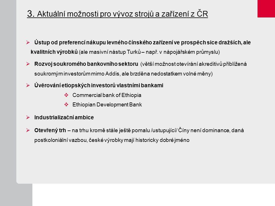 3. Aktuální možnosti pro vývoz strojů a zařízení z ČR  Ústup od preferencí nákupu levného čínského zařízení ve prospěch sice dražších, ale kvalitních