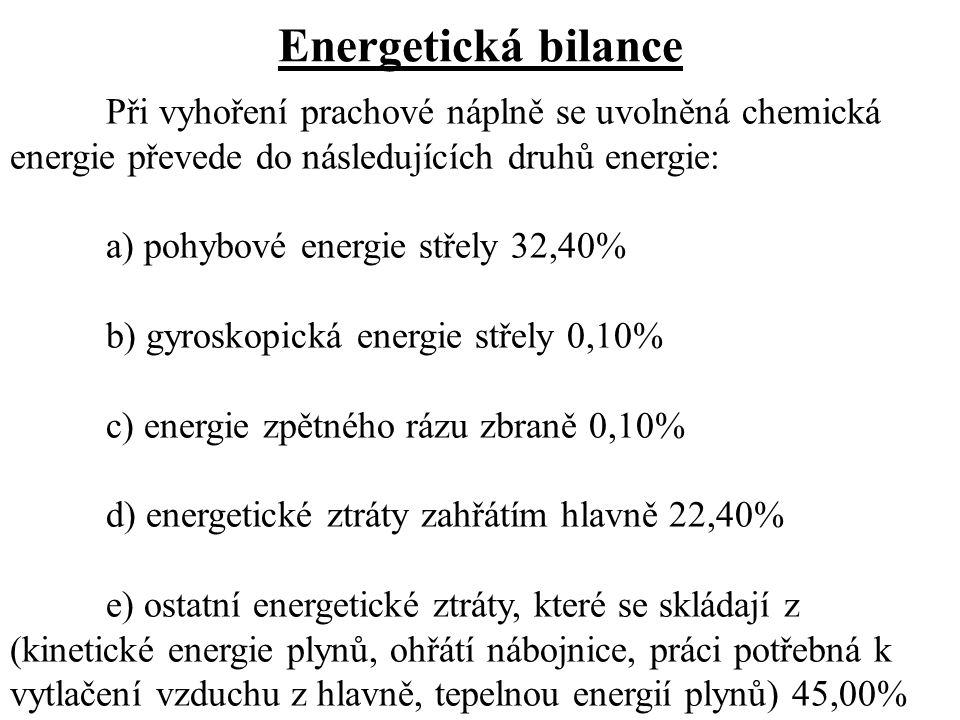 Energetická bilance Při vyhoření prachové náplně se uvolněná chemická energie převede do následujících druhů energie: a) pohybové energie střely 32,40% b) gyroskopická energie střely 0,10% c) energie zpětného rázu zbraně 0,10% d) energetické ztráty zahřátím hlavně 22,40% e) ostatní energetické ztráty, které se skládají z (kinetické energie plynů, ohřátí nábojnice, práci potřebná k vytlačení vzduchu z hlavně, tepelnou energií plynů) 45,00%