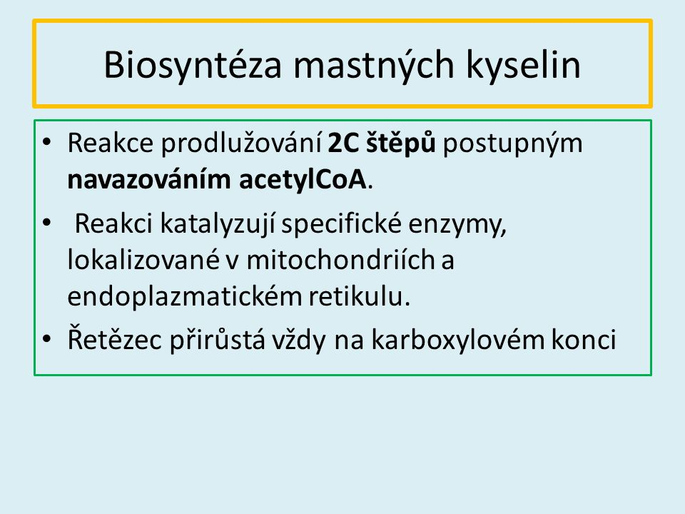 Biosyntéza mastných kyselin Reakce prodlužování 2C štěpů postupným navazováním acetylCoA.