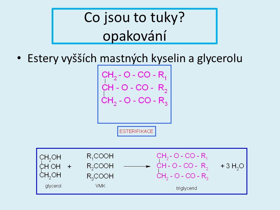 Co jsou to tuky opakování Estery vyšších mastných kyselin a glycerolu