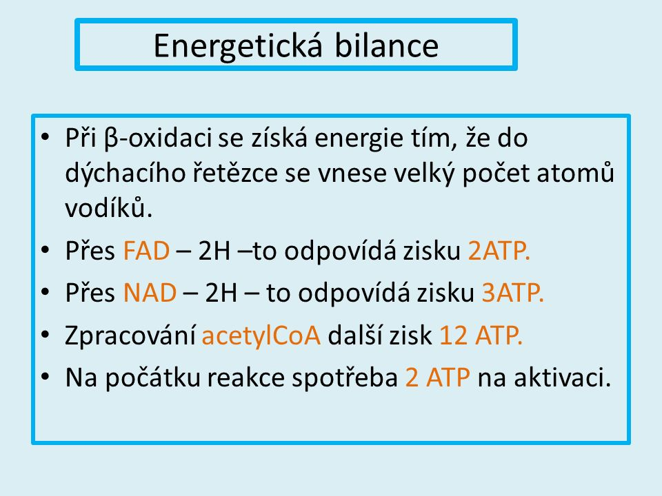 Energetická bilance Při β-oxidaci se získá energie tím, že do dýchacího řetězce se vnese velký počet atomů vodíků.