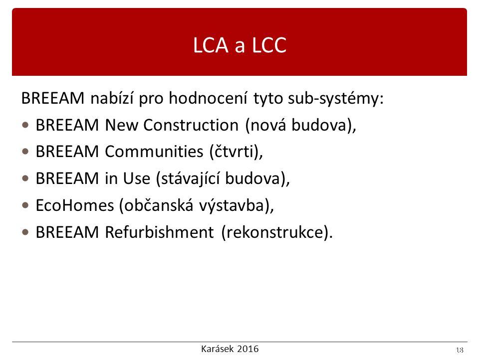 Karásek 2016 18 BREEAM nabízí pro hodnocení tyto sub-systémy: BREEAM New Construction (nová budova), BREEAM Communities (čtvrti), BREEAM in Use (stáva