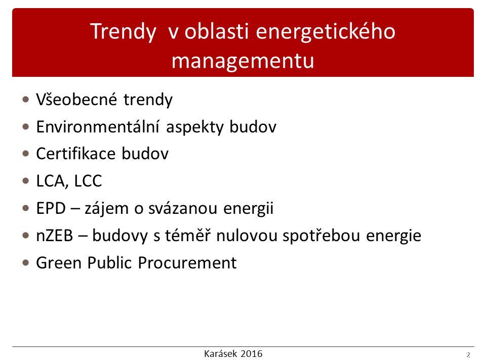 Karásek 2016 2 Všeobecné trendy Environmentální aspekty budov Certifikace budov LCA, LCC EPD – zájem o svázanou energii nZEB – budovy s téměř nulovou