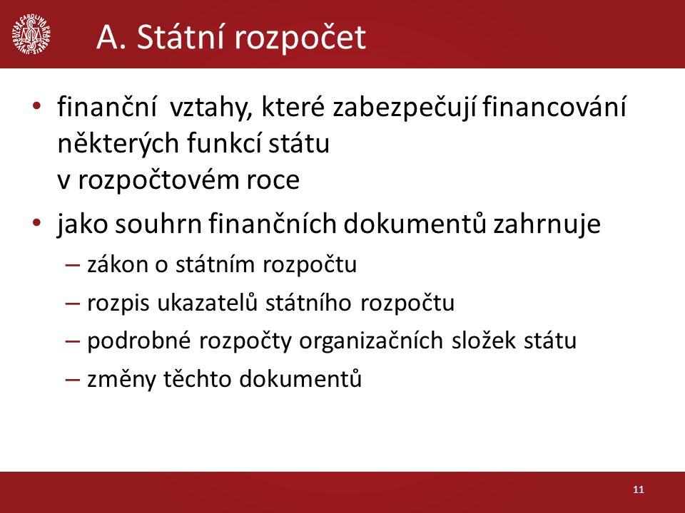 A. Státní rozpočet finanční vztahy, které zabezpečují financování některých funkcí státu v rozpočtovém roce jako souhrn finančních dokumentů zahrnuje