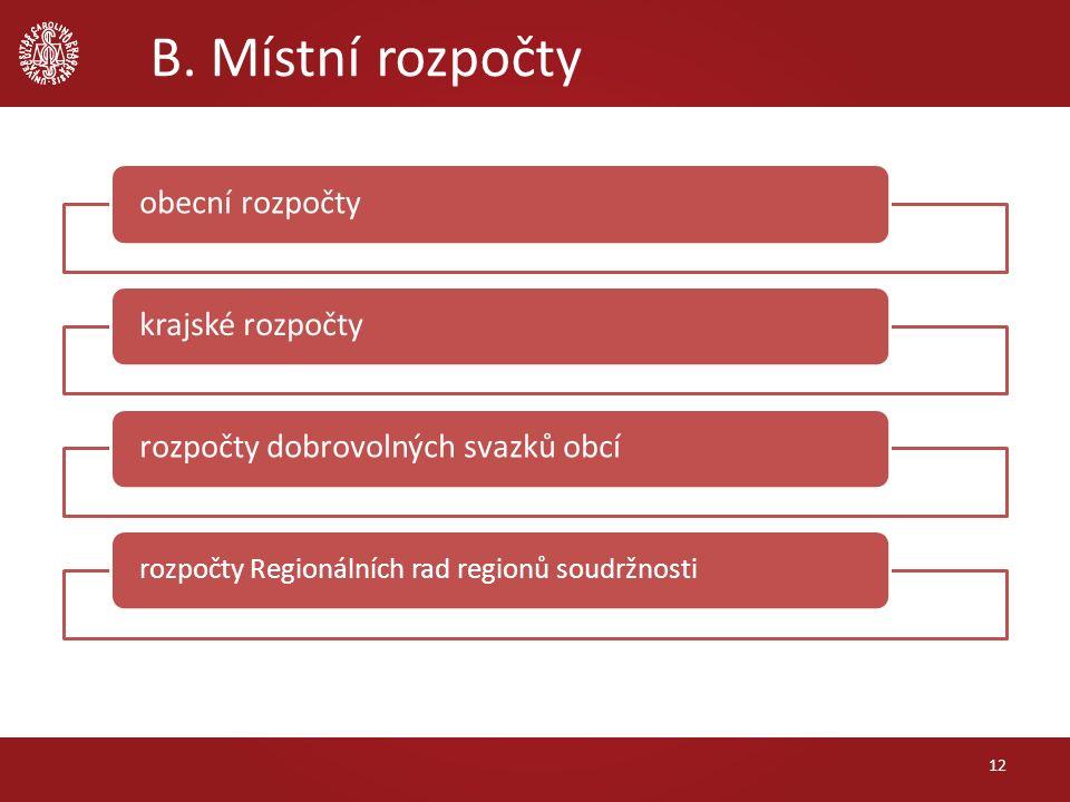 B. Místní rozpočty 12 obecní rozpočtykrajské rozpočtyrozpočty dobrovolných svazků obcí rozpočty Regionálních rad regionů soudržnosti