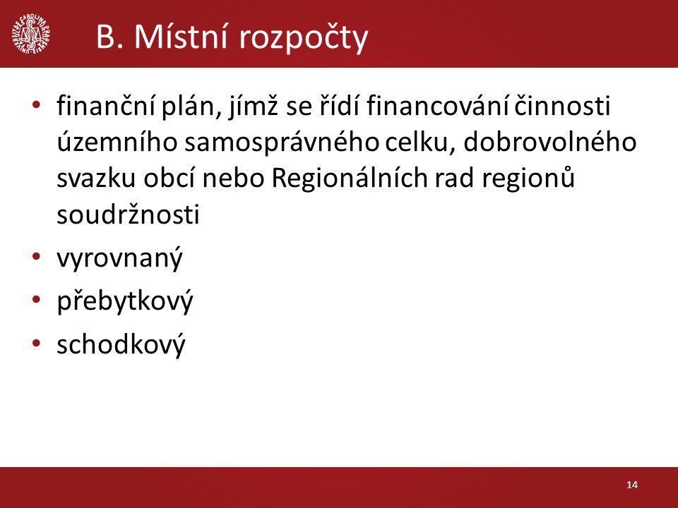 B. Místní rozpočty finanční plán, jímž se řídí financování činnosti územního samosprávného celku, dobrovolného svazku obcí nebo Regionálních rad regio