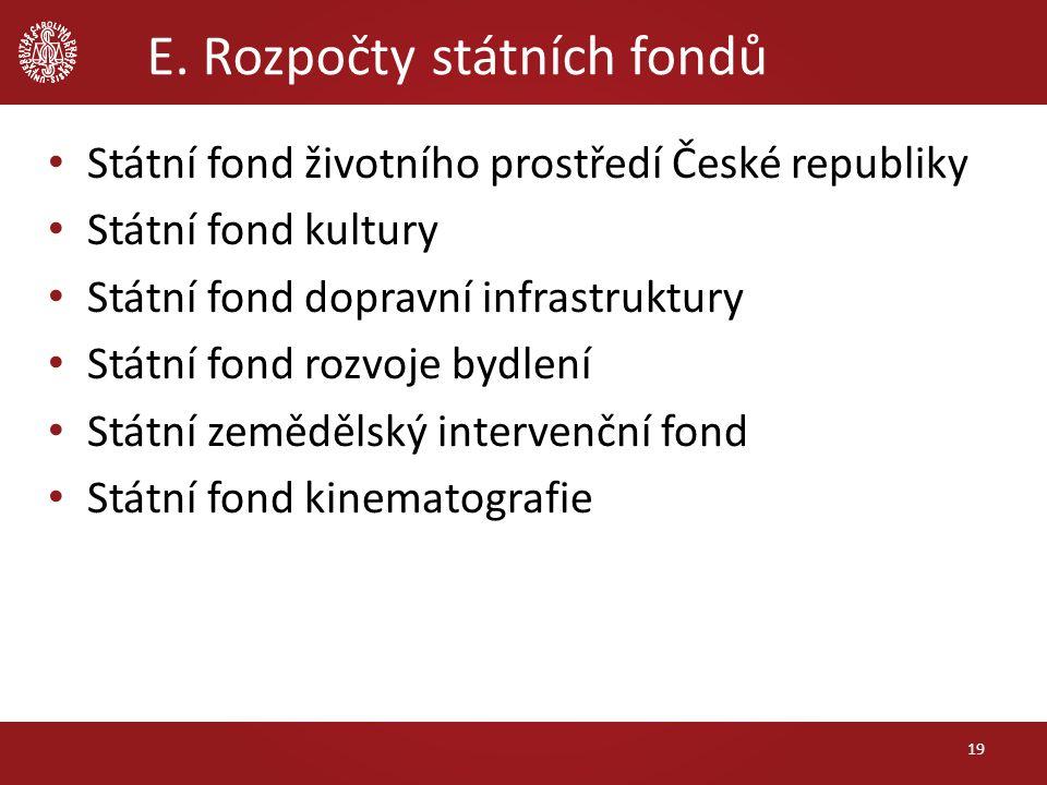 E. Rozpočty státních fondů 19 Státní fond životního prostředí České republiky Státní fond kultury Státní fond dopravní infrastruktury Státní fond rozv