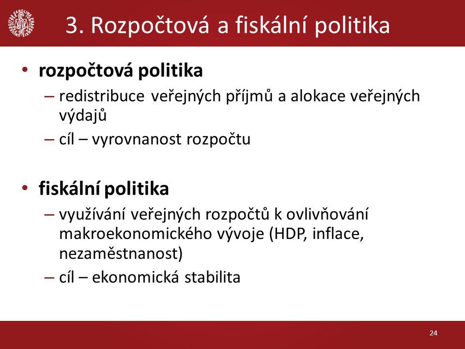 3. Rozpočtová a fiskální politika rozpočtová politika – redistribuce veřejných příjmů a alokace veřejných výdajů – cíl – vyrovnanost rozpočtu fiskální
