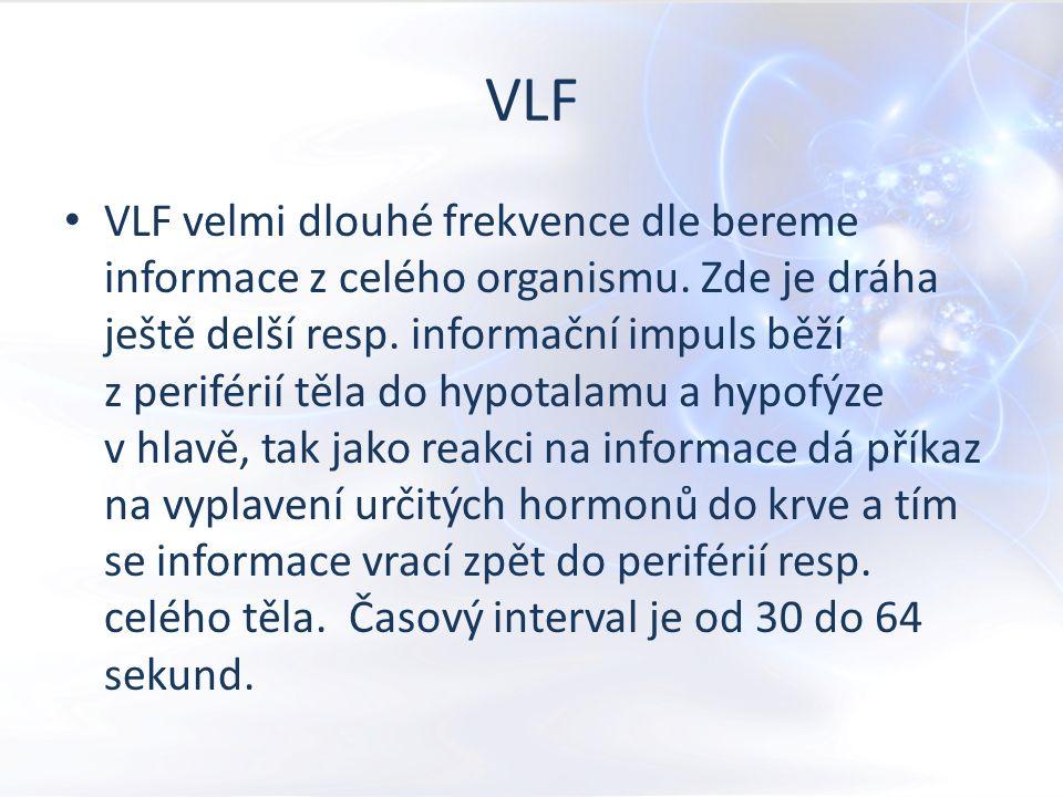 VLF hypothalamus, podvěsek mozkový u sportovců nízké VLF ( a zároveň vysoké TP ) u nemocných znamená zásadně sníženou adaptabilitu Hlavně je potřeba vrátit správný poměr : HF, LF a VLF Potřebujeme tvorbu energie, spustit imunitní systém a obnovit adaptační mechanismy Antiaging – anabolické hormony Nutná podpora PS ( přesunout energii na LF a pak do HF )