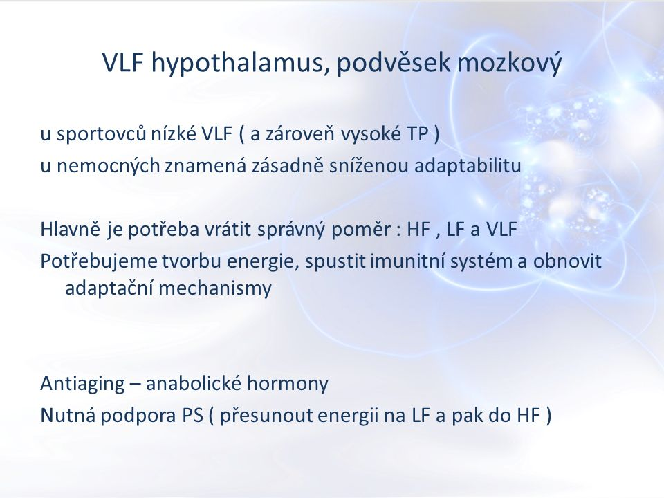 ULF ULF jsou ultra dlouhé frekvence, kdy nejvyšší nadřízený orgán je thalamus, limbický systém, amygdala ti kontrolují celý systém s cyklem v 64 až 250 sekundových intervalech.