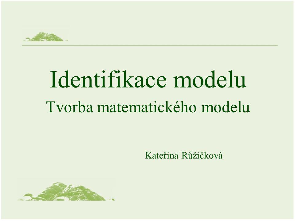 Identifikace a modelování Cíl: 1.Stanovení struktury modelu 2.