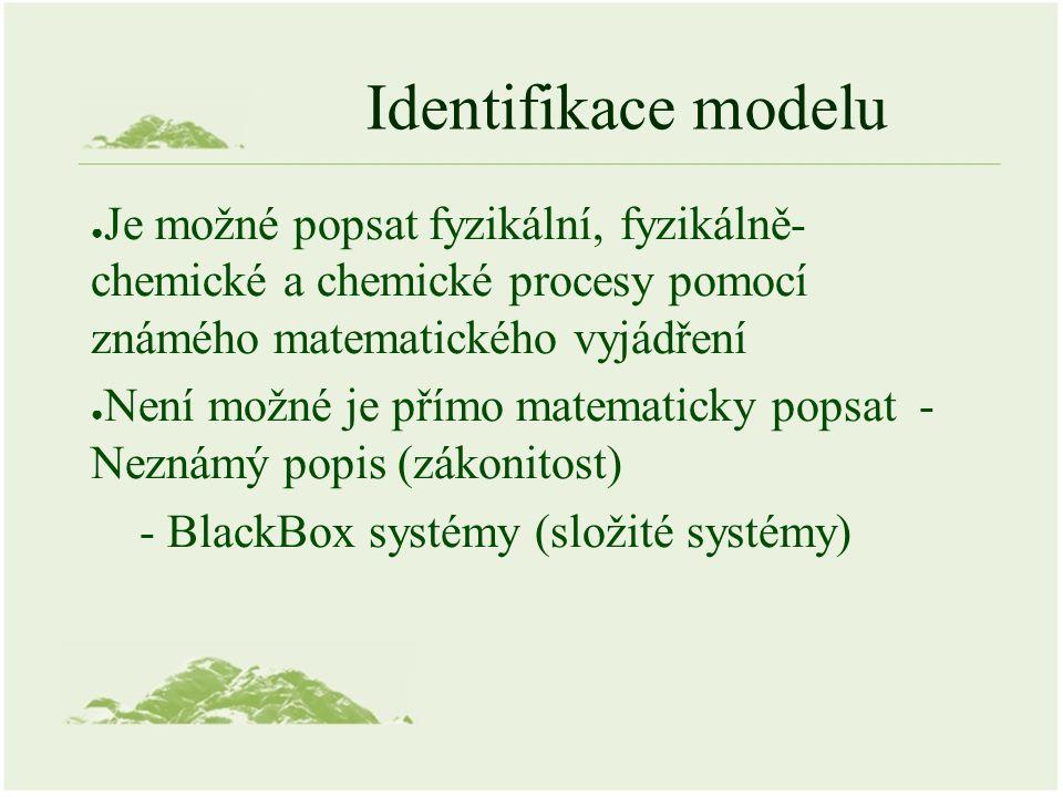 Identifikace modelu ● Je možné popsat fyzikální, fyzikálně- chemické a chemické procesy pomocí známého matematického vyjádření ● Není možné je přímo matematicky popsat - Neznámý popis (zákonitost) - BlackBox systémy (složité systémy)