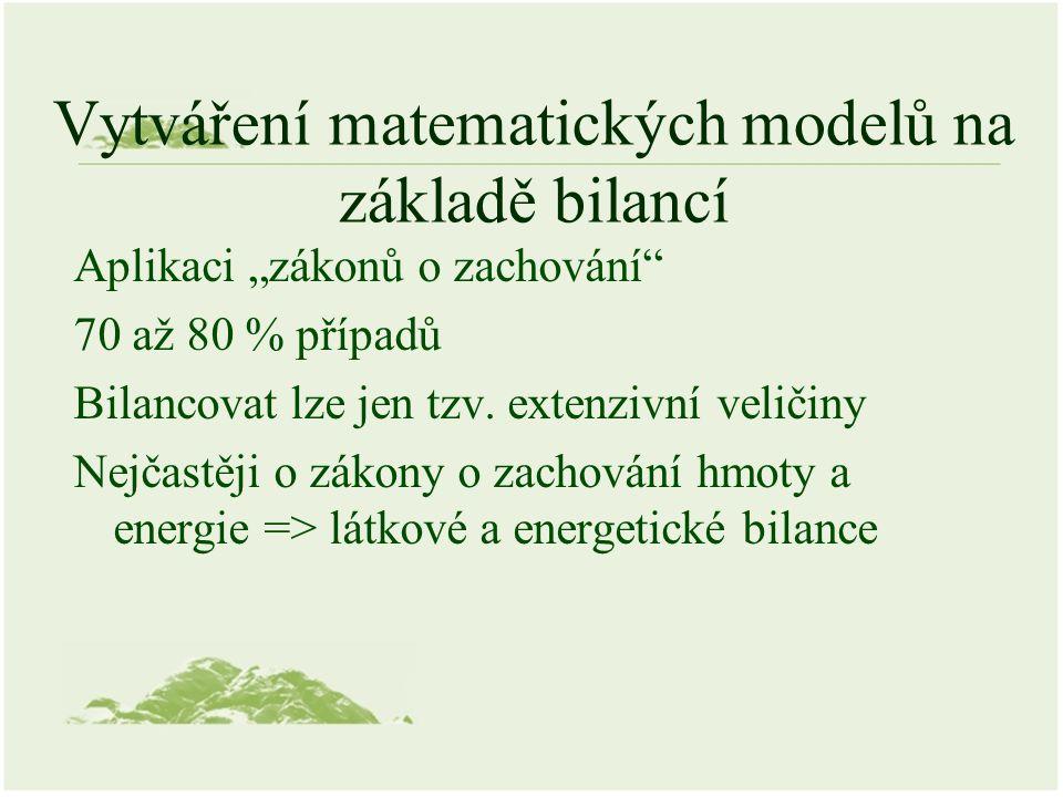 """Vytváření matematických modelů na základě bilancí Aplikaci """"zákonů o zachování"""" 70 až 80 % případů Bilancovat lze jen tzv. extenzivní veličiny Nejčast"""