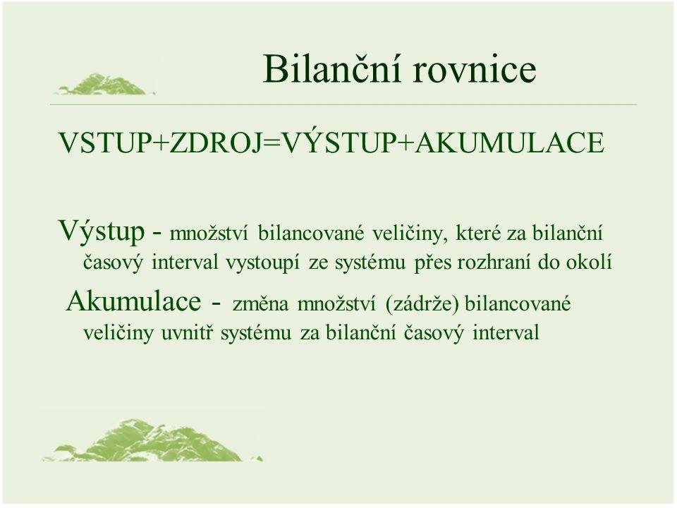 Bilanční rovnice VSTUP+ZDROJ=VÝSTUP+AKUMULACE Výstup - množství bilancované veličiny, které za bilanční časový interval vystoupí ze systému přes rozhraní do okolí Akumulace - změna množství (zádrže) bilancované veličiny uvnitř systému za bilanční časový interval