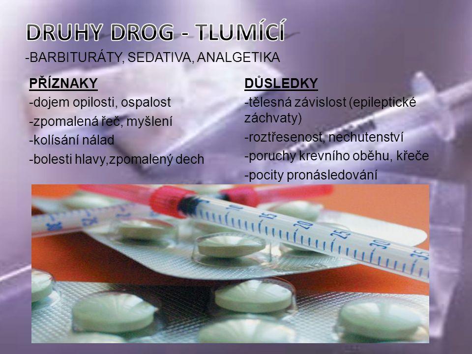 -BARBITURÁTY, SEDATIVA, ANALGETIKA PŘÍZNAKY -dojem opilosti, ospalost -zpomalená řeč, myšlení -kolísání nálad -bolesti hlavy,zpomalený dech DŮSLEDKY -tělesná závislost (epileptické záchvaty) -roztřesenost, nechutenství -poruchy krevního oběhu, křeče -pocity pronásledování