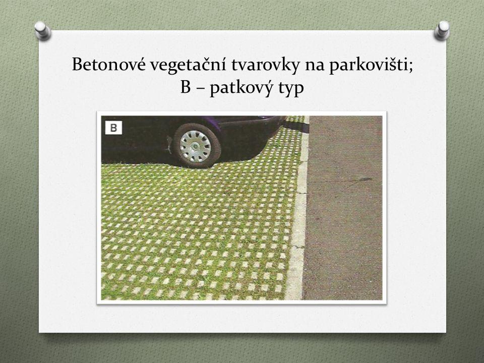 Betonové vegetační tvarovky na parkovišti; B – patkový typ