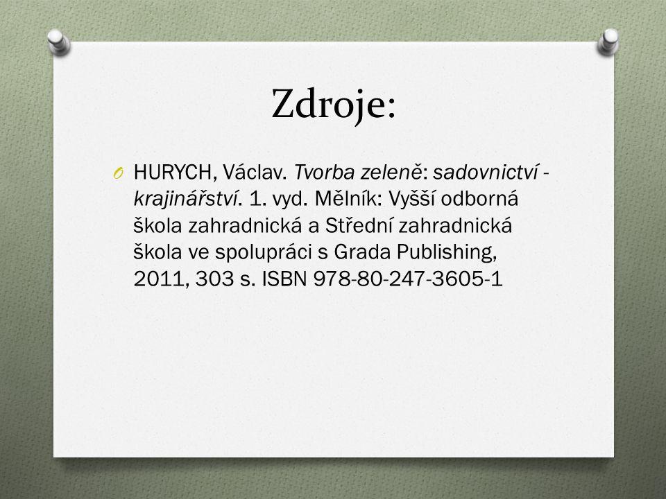 Zdroje: O HURYCH, Václav. Tvorba zeleně: sadovnictví - krajinářství.