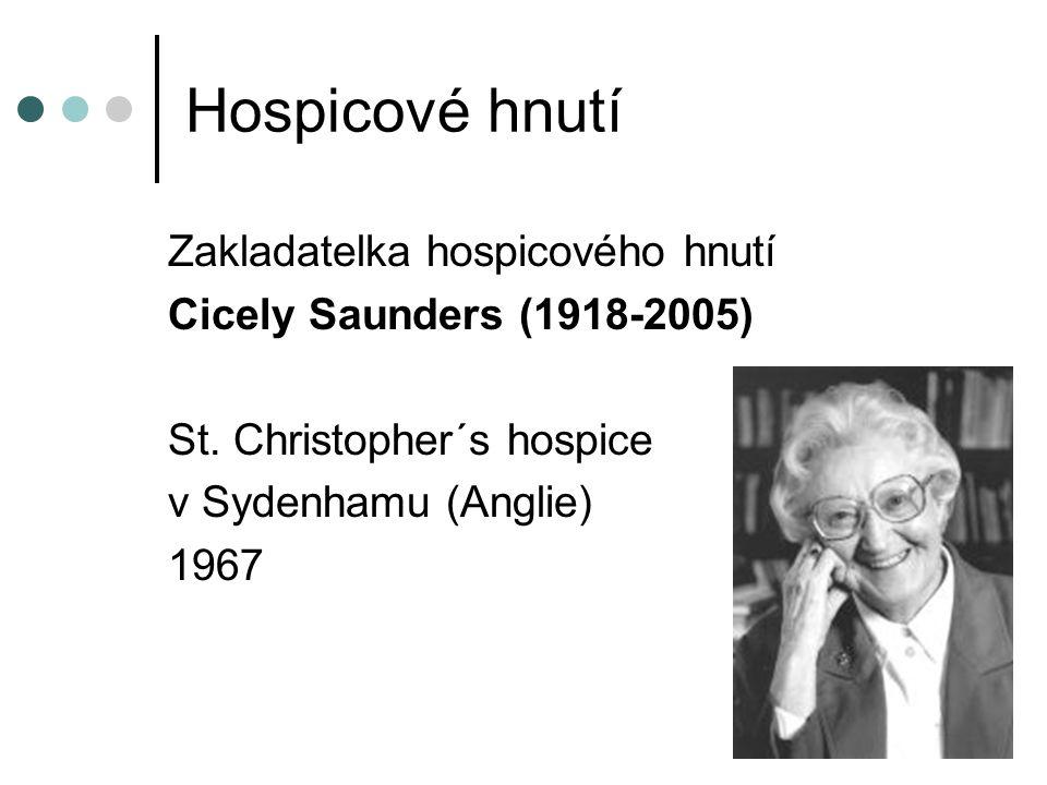 Hospicové hnutí Zakladatelka hospicového hnutí Cicely Saunders (1918-2005) St.
