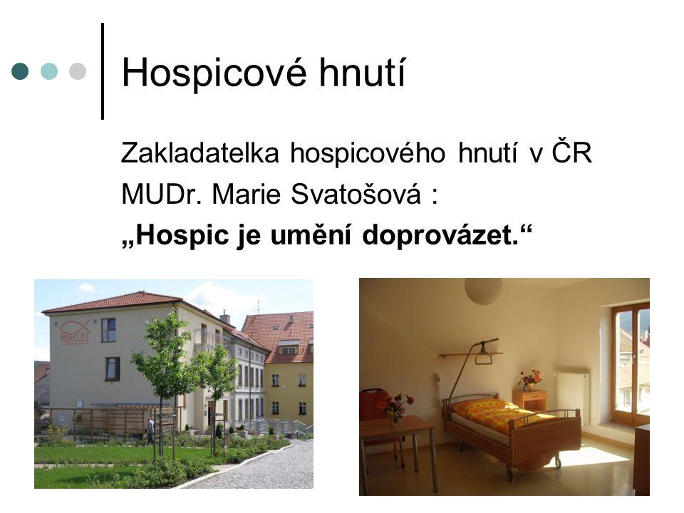 Hospicové hnutí Zakladatelka hospicového hnutí v ČR MUDr.