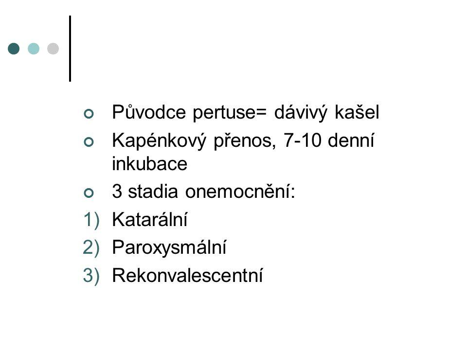 Původce pertuse= dávivý kašel Kapénkový přenos, 7-10 denní inkubace 3 stadia onemocnění: 1)Katarální 2)Paroxysmální 3)Rekonvalescentní