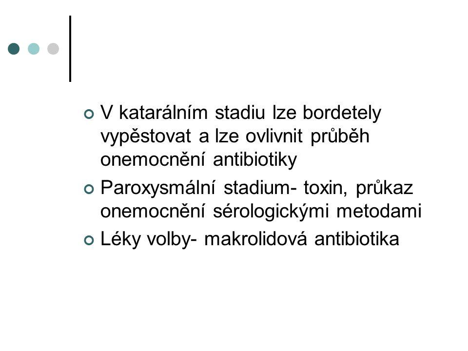 V katarálním stadiu lze bordetely vypěstovat a lze ovlivnit průběh onemocnění antibiotiky Paroxysmální stadium- toxin, průkaz onemocnění sérologickými metodami Léky volby- makrolidová antibiotika
