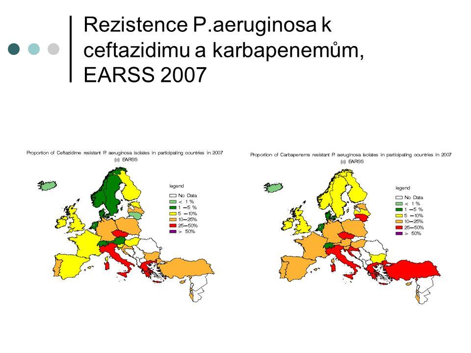 Rezistence P.aeruginosa k ceftazidimu a karbapenemům, EARSS 2007