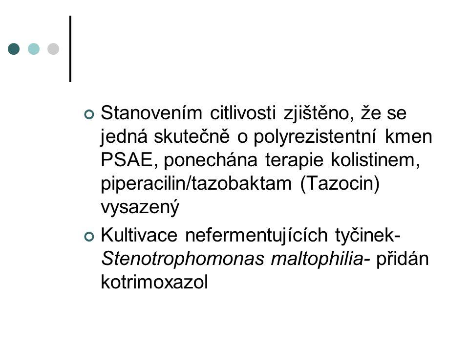 Stanovením citlivosti zjištěno, že se jedná skutečně o polyrezistentní kmen PSAE, ponechána terapie kolistinem, piperacilin/tazobaktam (Tazocin) vysaz