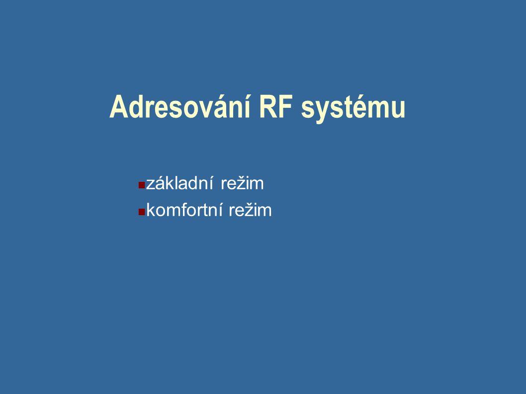 Adresování RF systému základní režim komfortní režim