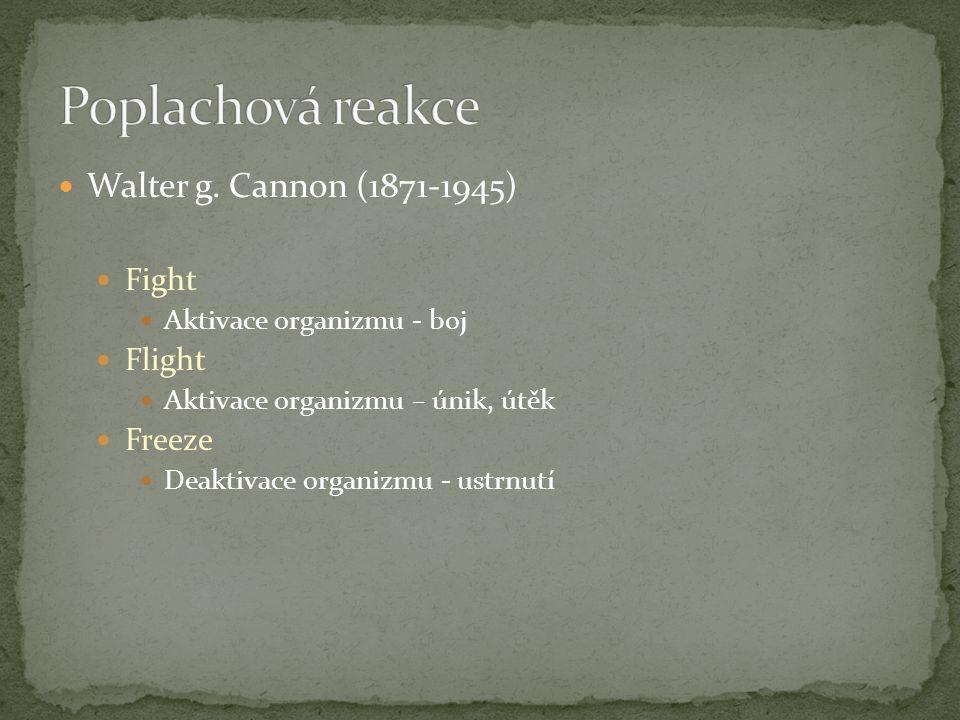Walter g. Cannon (1871-1945) Fight Aktivace organizmu - boj Flight Aktivace organizmu – únik, útěk Freeze Deaktivace organizmu - ustrnutí