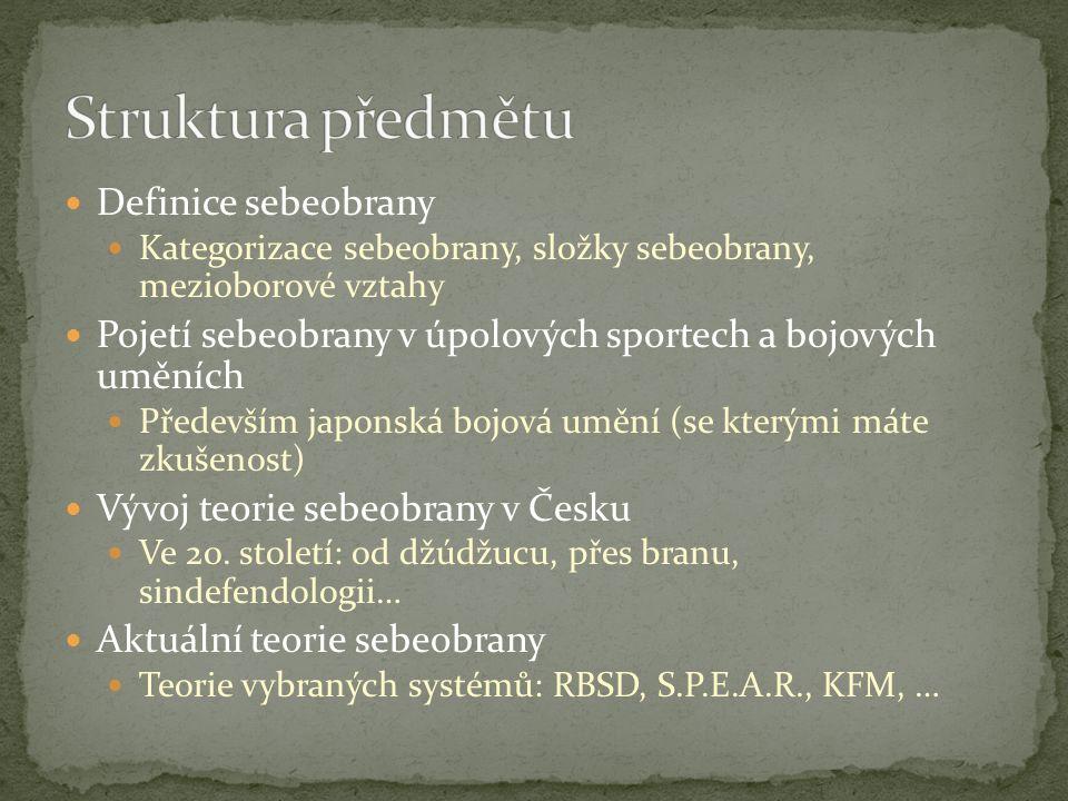 Definice sebeobrany Kategorizace sebeobrany, složky sebeobrany, mezioborové vztahy Pojetí sebeobrany v úpolových sportech a bojových uměních Především japonská bojová umění (se kterými máte zkušenost) Vývoj teorie sebeobrany v Česku Ve 20.