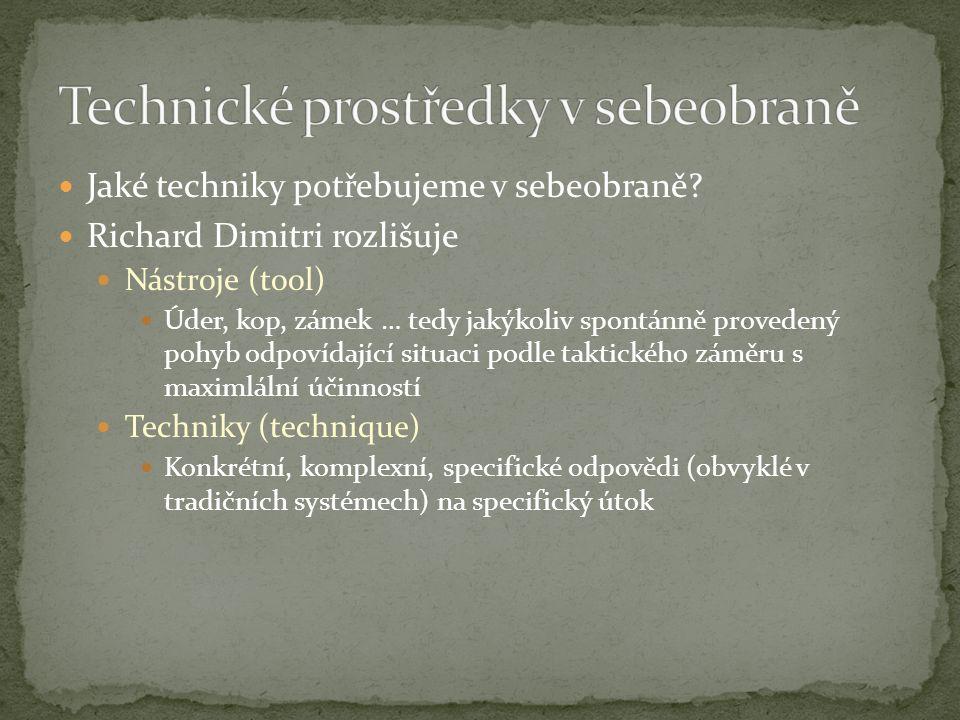 Jaké techniky potřebujeme v sebeobraně? Richard Dimitri rozlišuje Nástroje (tool) Úder, kop, zámek … tedy jakýkoliv spontánně provedený pohyb odpovída