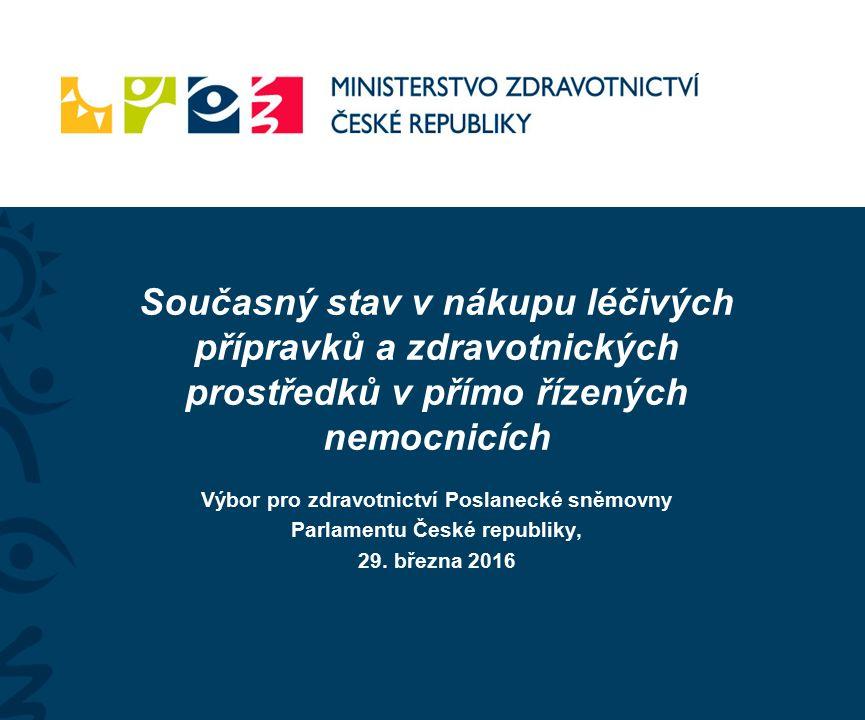 Současný stav v nákupu léčivých přípravků a zdravotnických prostředků v přímo řízených nemocnicích Výbor pro zdravotnictví Poslanecké sněmovny Parlamentu České republiky, 29.