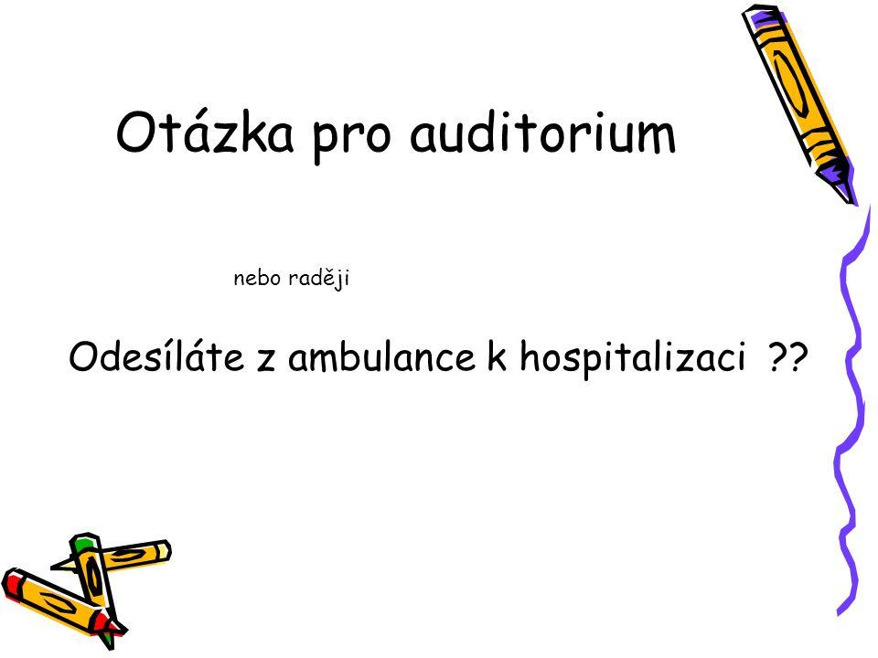 Otázka pro auditorium nebo raději Odesíláte z ambulance k hospitalizaci ??