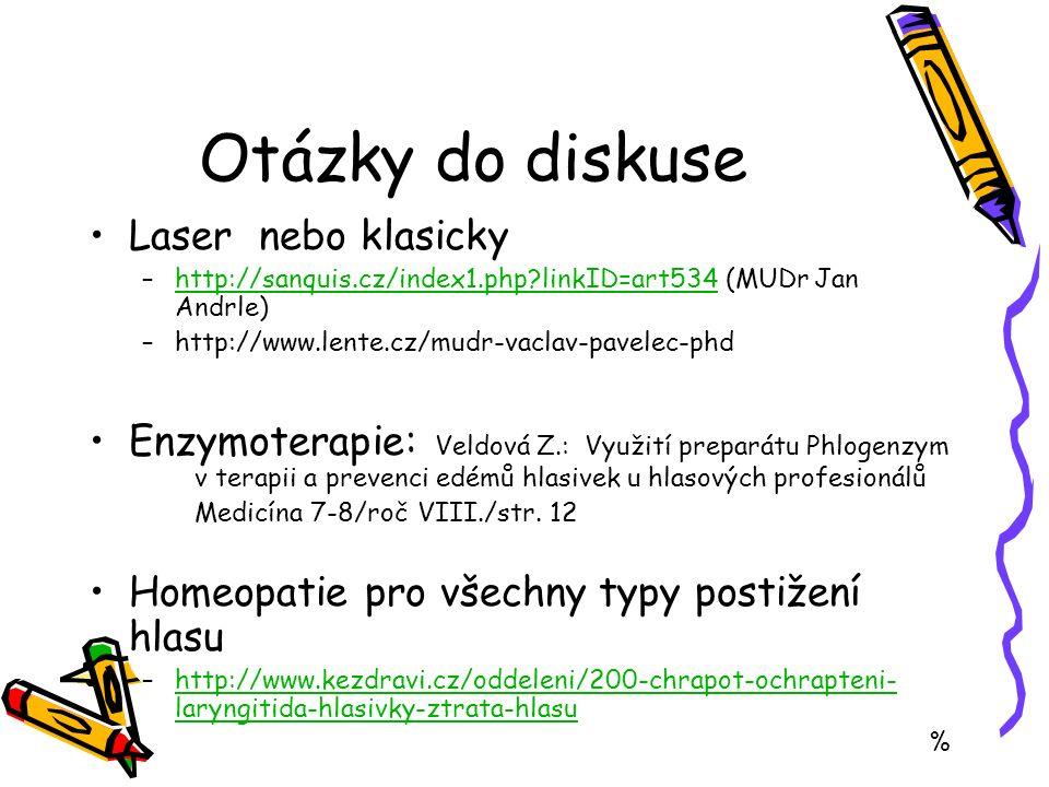 Otázky do diskuse Laser nebo klasicky –http://sanquis.cz/index1.php?linkID=art534 (MUDr Jan Andrle)http://sanquis.cz/index1.php?linkID=art534 –http://