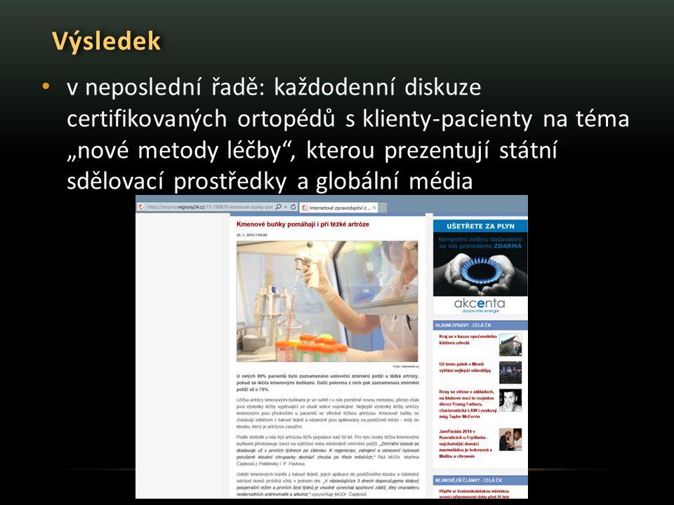 """Výsledek v neposlední řadě: každodenní diskuze certifikovaných ortopédů s klienty-pacienty na téma """"nové metody léčby , kterou prezentují státní sdělovací prostředky a globální média"""