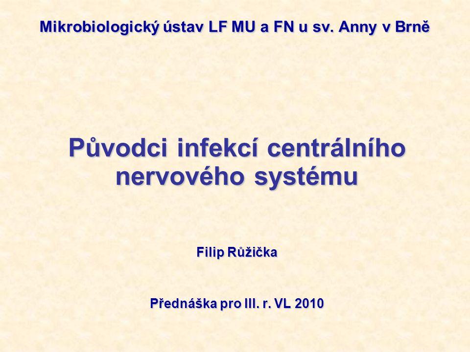 Význam infekcí CNS Jsou sice méně časté, ale mívají závažný průběh Incidence - bakteriální meningitidy: 2/100.000/rok (mortalita: neléčené >70 % X léčené ~10 %) - virové meningitidy:10/100.000/rok Průnik agens do CNS Z ložiska na periferii: - - hematogenně (meningokoky) - per continutitatem (pneumokoky a hemofily ze stř.