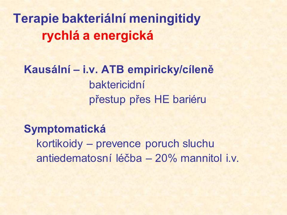 Terapie bakteriální meningitidy rychlá a energická Kausální – i.v.