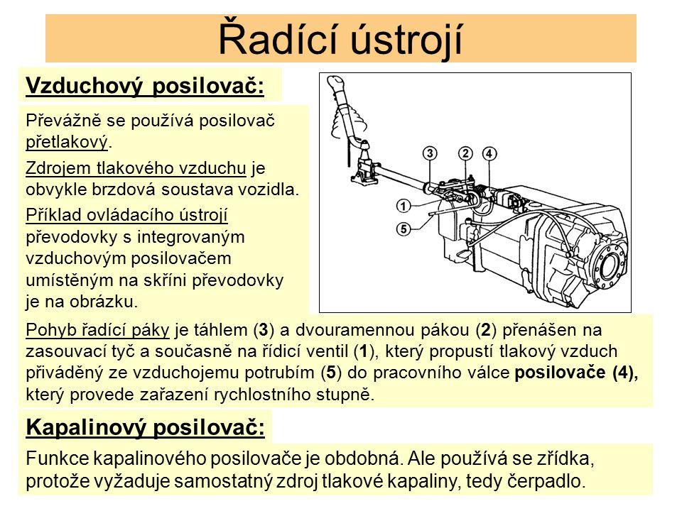 Řadící ústrojí Vzduchový posilovač: Převážně se používá posilovač přetlakový.